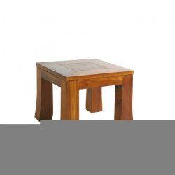 BISHO Bout de canapé ethnique en Teck - L 43 x l 43 x H 33 cm