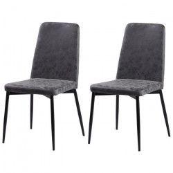 VINTY Lot de 2 chaises de salle a manger - Simili gris - Style contemporain - L 52 x P 52 cm