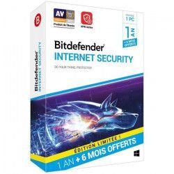 Bitdefender Internet Security 1 An 1 PC + 6 mois offerts
