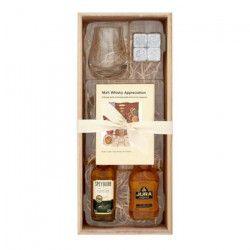 Coffret 2 Single Malt Scotch Whisky 5 cl + 1 Verre + Pierres a whisky + Carnet de dégustation