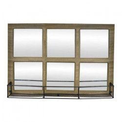 Miroir étagere en bois et métal - 52 x 36 x 11 cm - Style industriel - Naturel