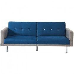 MONTREAL Canapé droit convertible 3 places - Tissu bleu et gris - Contemporain - L 209 x P 82 cm