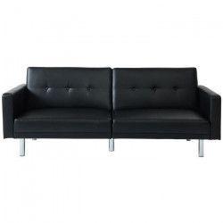 MONTREAL Canapé droit convertible 3 places - Simili noir - Contemporain - L 209 x P 82 cm