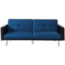 MONTREAL Canapé droit convertible 3 places - Tissu bleu et simili noir - Contemporain - L 209 x P 82 cm