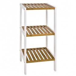 BAMBOO Étagere de salle de bain 3 plateaux L 33 cm - Blanc et bois bambou naturel