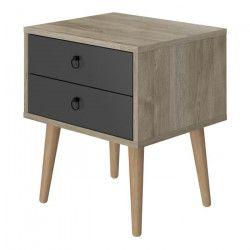 NARNIK Chevet scandinave décor chene et gris - L 38 cm