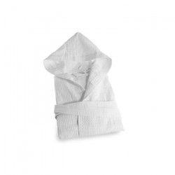 SOLEIL D`OCRE Peignoir Nid d`Abeille a capuche - Taille L - 100% Coton - Blanc