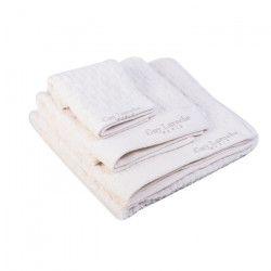 GUY LAROCHE Lot de 1 drap de bain + 1 serviette de toilette + 1 serviette invité Palazzo - 100% coton - Blanc