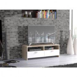 FINLANDEK Meuble TV HELPPO contemporain blanc mat et décor chene - L 95 cm