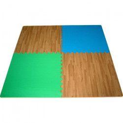 ATHLI-TECH Lot de 4 Tapis de sol Dalles - Mixte - Bois, bleu et vert