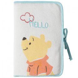 DISNEY Protege carnet de santé Winnie Hello Funshine - Velours 100% polyester - 18 x 25 cm