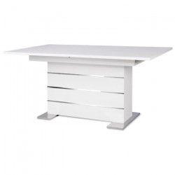 MANTOVA Table extensible extensible 6 a 8 personnes style contemporain blanc et alu - L 160 a 200 cm