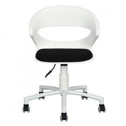 DOT Chaise de bureau noir et blanc en métal - Revetement tissu bicolore noir - Style contemporain - L 54 x P 58 cm