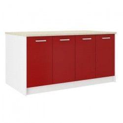 ULTRA Ilot de cuisine L 164 cm avec plan de travail - Rouge mat