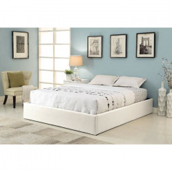 MAJESTY Lit coffre adulte contemporain simili blanc + sommier - l 160 x L 200 cm