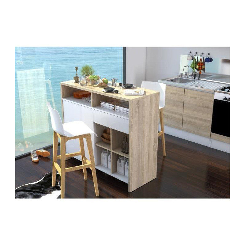 ilot meuble bar contemporain laqu blanc brillant et. Black Bedroom Furniture Sets. Home Design Ideas