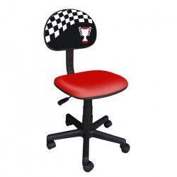 RACING Chaise de bureau enfant - Tissu noir et rouge avec impression drapeau F1 & coupe - L 54 x P 39,5 cm