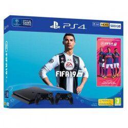 Pack PS4 500 Go Noire + FIFA 19 + 2eme manette DualShock 4 + 14 jours d`essai PlayStation Plus