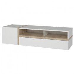 BIANKO Meuble TV contemporain blanc mat et brillant et décor chene - L 168 cm