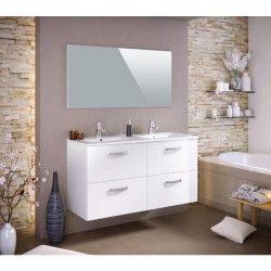 STELLA Ensemble salle de bain double vasque avec miroir L 120 cm - Blanc laqué brillant