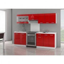 ULTRA Cuisine complete avec plan de travail L 2m40 - Rouge laqué brillant