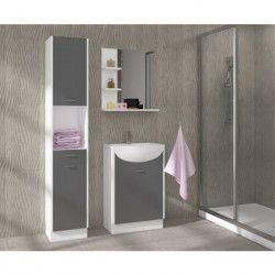 CELSO Ensemble salle de bain simple vasque L 50 cm avec miroir - Gris mat
