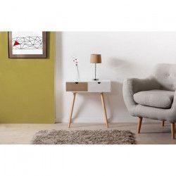 LORENZO Console scandinave en pin blanc et bois - 2 tiroirs - L60 x P30 x H61 cm