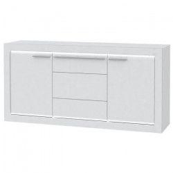 L-LIGHT Buffet contemporain mélaminé blanc mat et brillant + poignée en métal décor aluminium - L 158 cm