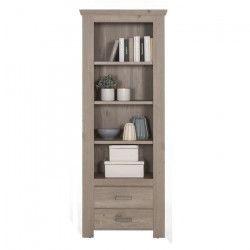 AMELAND Bibliotheque classique mélaminé décor chene grisé - L 76 cm