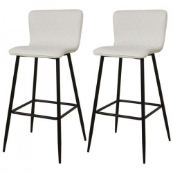 VEGAS Lot de 2 tabourets de bar - Simili blanc - Contemporain - L 46 x P 46 cm