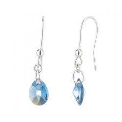 LES BIJOUX D`EMMA CRISTAL - Boucles d`Oreilles en Argent et Cristal De Swarovski Coloris Denim Blue