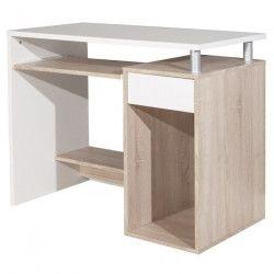 JANIS Bureau contemporain blanc et décor chene - L 99 cm