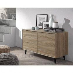 DAGMAR Commode 6 tiroirs scandinave décor chene + pieds bois massif noir - L 109 cm