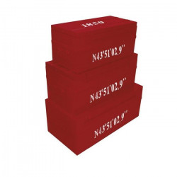 COGEX Lot de 3 malles métal déco Loft 70 / 100 / 150 L rouge