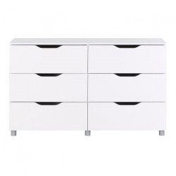 STELL Commode de chambre style contemporain laquée blanc brillant - L 131 cm