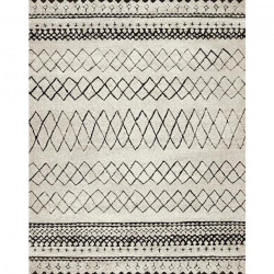 MAROKKO Tapis de salon 200x290 cm - Beige et Marron / Noir