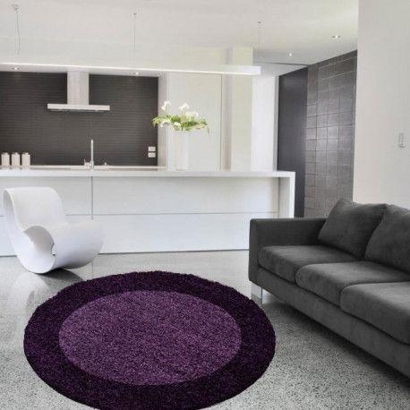LIFE Tapis de salon shaggy rond Ø200 cm - Violet