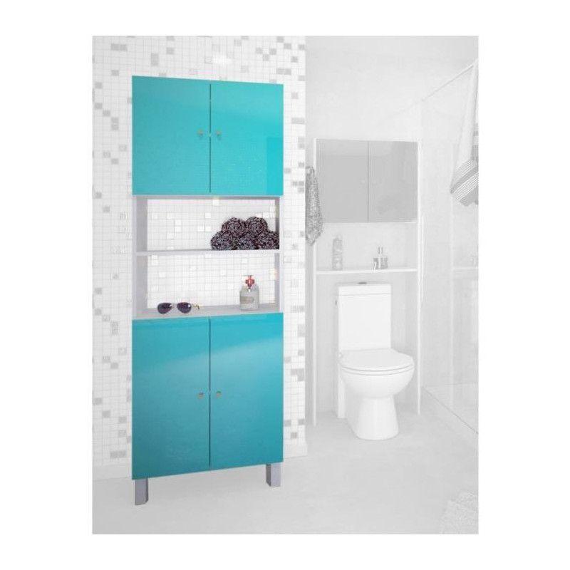 CORAIL Colonne de salle de bain L 60 cm - Bleu lagon