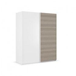 ANCHORAGE Armoire de chambre - Contemporain - Décor frene et blanc brillant - L 200 cm
