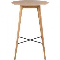 NAGANO Table de bar ronde 4 personnes scandinave placage chene huilé - Pieds contreplaqué et chene massif - L 70