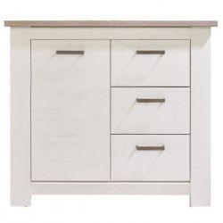 LOTTE Meuble de rangement classique décor chene bistré et pin blanchi - L 103 cm