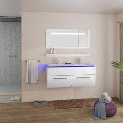 HELIOS Salle de bain complete avec LED double vasque L 120 cm - Blanc laqué brillant
