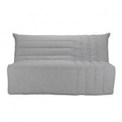 BETH Banquette BZ 3 places - Tissu gris - Style contemporain - L 162 x P 104 cm