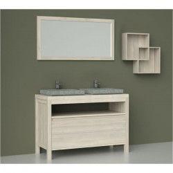 LUNA Ensemble meubles de salle de bain L 120 cm - Placage bois chene