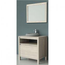 LUNA Ensemble meubles de salle de bain L 80 cm - Placage bois chene