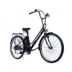 REVoe Vélo électrique City 26` - 6 vitesses- 40km autonomie-batterie lithium 10ah-Noir
