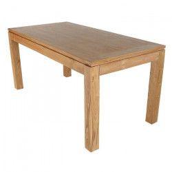 CLEA Table a manger de 6 a 8 personnes scandinave en bois teck massif verni - L 160 x l 80 cm
