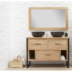 LOFT Ensemble salle de bain en bois et placage teck massif double vasque avec miroir L 120 cm - Bois naturel et