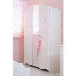 CHARME Armoire de chambre style contemporain laqué blanc - L 116 cm