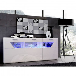 SAPHIR Buffet contemporain blanc brillant - L 194 cm
